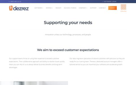 Screenshot of Support Page dezrez.com - Support - Online Sales, Lettings and Property Management Software for Estate Agents, Lettings Agents and Estate Agency providing support for Rezi DezrezOne and ReziPM - captured Oct. 9, 2018