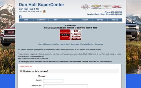Screenshot of Contact Page donhallgmsupercenter.com - Don Hall SuperCenter – Ashland, Buick, Cadillac, Chevrolet, GMC dealership – contact info, phone number, email address - captured Sept. 30, 2014
