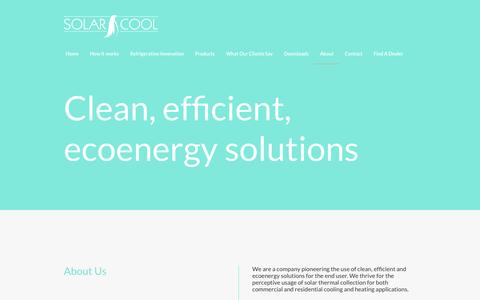 Screenshot of About Page solarcoolenergy.com - Solar Cool Energy -  Clean, efficient, ecoenergy solutions - captured June 8, 2016