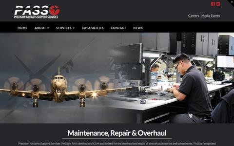 Screenshot of Services Page passinc.com - MRO | Pass - captured Aug. 23, 2017