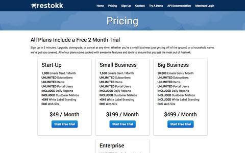 Screenshot of Pricing Page restokk.com - Restokk - Pricing - captured Sept. 30, 2014