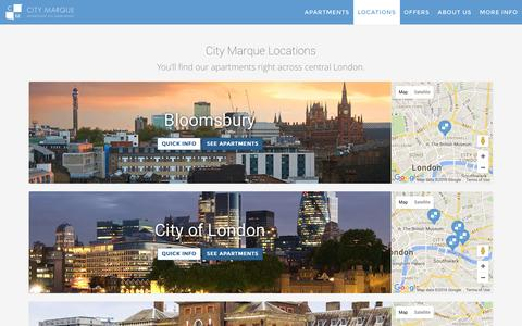 Screenshot of Locations Page citymarque.com - City Marque Locations - City Marque - captured July 13, 2016