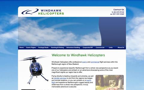 Screenshot of Home Page windhawkhelicopters.com - :: Windhawk Helicopters - Flight Services - Blenheim, Marlborough - New Zealand - captured Oct. 7, 2014