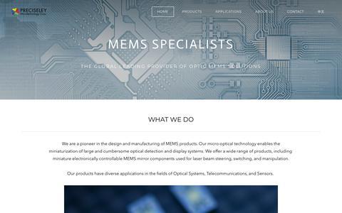Screenshot of Home Page preciseley.com - Preciseley Microtechnology Corp. - Home - captured Sept. 29, 2018