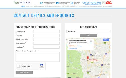 Screenshot of Contact Page frogsons.co.uk - Frogson Waste Management Ltd, Sheffield, South Yorkshire, England - captured Oct. 14, 2017
