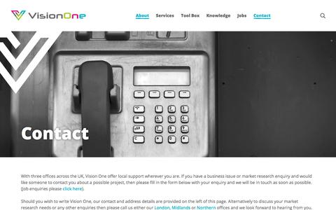 Screenshot of Contact Page visionone.co.uk - Vision One address, contact and telephone details - captured Oct. 8, 2019