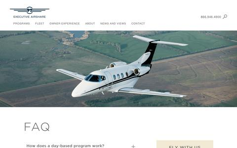 Screenshot of FAQ Page execairshare.com - FAQ About Fractional Jet Ownership at Executive AirShare - captured Sept. 30, 2018