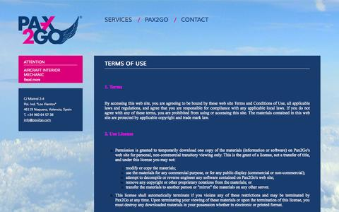 Screenshot of Terms Page pax2go.eu - Terms of use | Pax2Go - captured Sept. 29, 2014