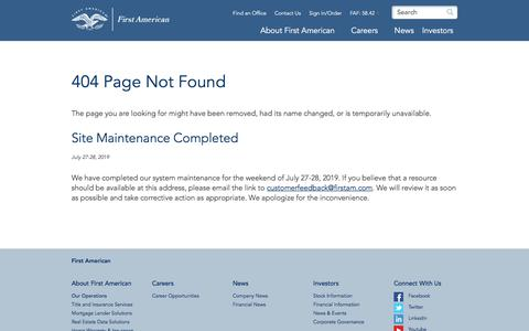 Screenshot of About Page firstam.com - 404 Page Not Found | First American - captured July 31, 2019