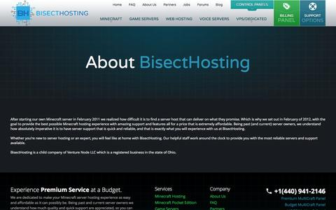 Screenshot of About Page bisecthosting.com - About Us - BisectHosting - Quality Minecraft Server Hosting - captured Jan. 19, 2016