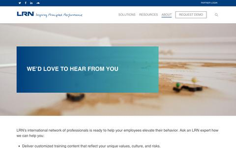 Screenshot of Contact Page lrn.com - Contact – LRN Corporation - captured July 21, 2019