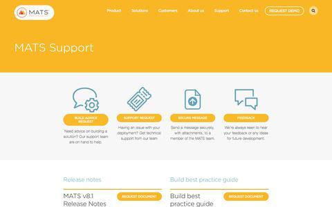 Screenshot of Support Page matssoft.com - MATS Support Centre - MATS - captured Sept. 29, 2017