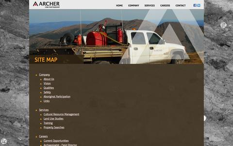 Screenshot of Site Map Page archercrm.ca - Archer CRM - archaeology and heritage, cultural resource management, and land use studies - captured Oct. 4, 2014