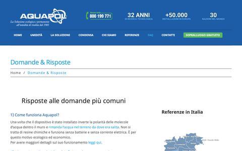 Screenshot of FAQ Page aquapol.it - Domande e Risposte - Umidità di Risalita | Aquapol - captured June 23, 2019