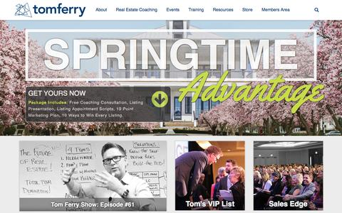 Screenshot of Home Page tomferry.com - Real Estate's #1 Educator | Tom Ferry – Your Coach - captured April 12, 2016