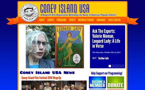 Screenshot of Home Page coneyisland.com - Coney Island USA | Defending the Honor of American Popular Culture - captured Oct. 7, 2018