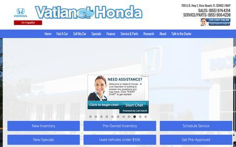 Screenshot of Home Page vatland.com - Honda Dealership in Vero Beach, FL | Vatland Honda - captured Feb. 26, 2016