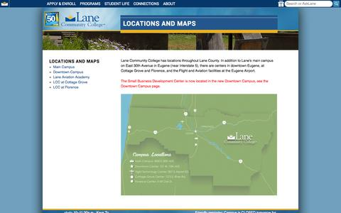 Screenshot of Locations Page lanecc.edu - College Locations and Maps | Locations and Maps | Lane Community College - captured Sept. 25, 2014