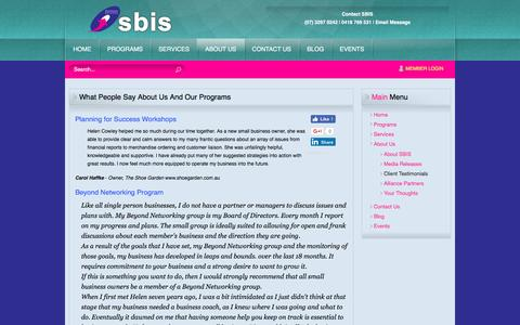 Screenshot of Testimonials Page sbis.com.au - What People Say About Us And Our Programs - captured Dec. 6, 2016