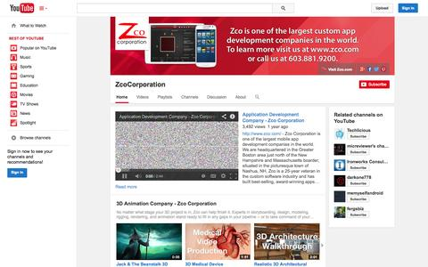 Screenshot of YouTube Page youtube.com - ZcoCorporation  - YouTube - captured Oct. 31, 2014