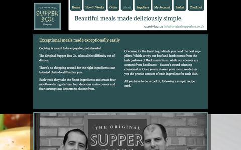 Screenshot of About Page originalsupperbox.co.uk - About - Original Supper Box Company - captured Oct. 6, 2014