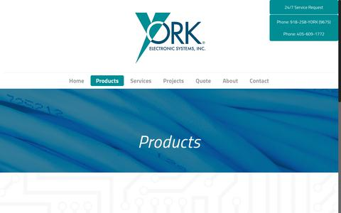 Screenshot of Products Page yorkes.com - Low Voltage Electronic Products | York Electronic Systems - captured Oct. 18, 2018