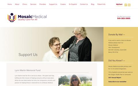 Screenshot of Support Page mosaicmedical.org - Mosaic Medical | Support Us - captured Sept. 20, 2018