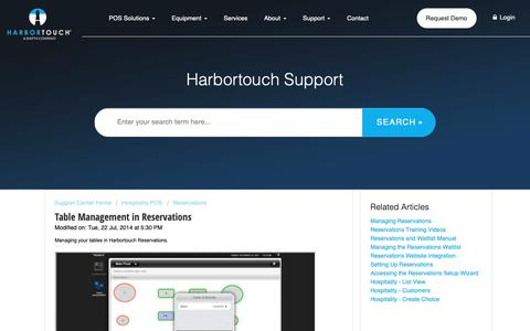 Screenshot of Support Page harbortouch.com - Table Management in Reservations : Harbortouch Support Center - captured Oct. 9, 2018