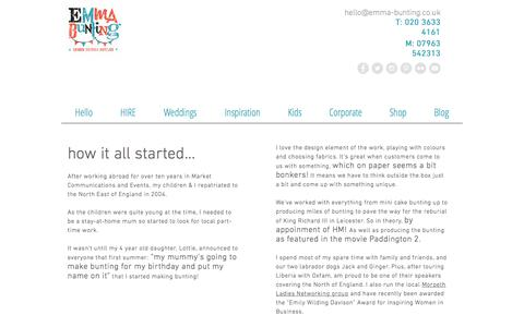 Screenshot of About Page emma-bunting.co.uk - Details of how to get in touch with Emma Bunting UK - captured July 18, 2018