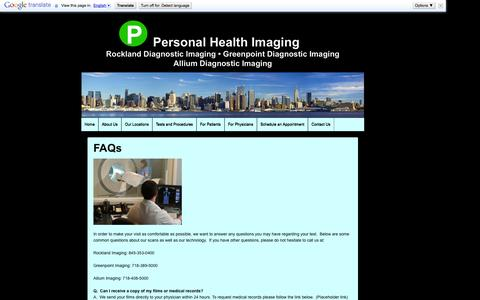 Screenshot of FAQ Page personalhealthimaging.com - FAQs | Personal Health Imaging - captured Sept. 29, 2014