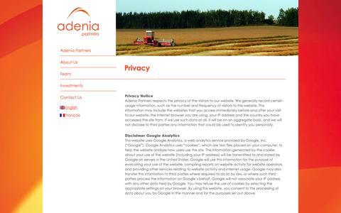 Screenshot of Privacy Page adenia.com - Privacy | Adenia Partners - captured Oct. 4, 2014