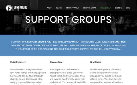 Screenshot of Support Page foundationschurch.org - Foundations Church |   Support Groups - captured Aug. 21, 2018