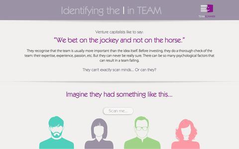 Screenshot of Home Page teamscanner.com - TeamScanner – Identifying the I in TEAM - captured Sept. 30, 2014