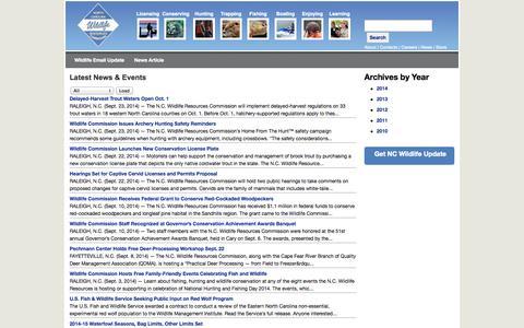 Screenshot of Press Page ncwildlife.org - NC WRC: News - captured Sept. 24, 2014
