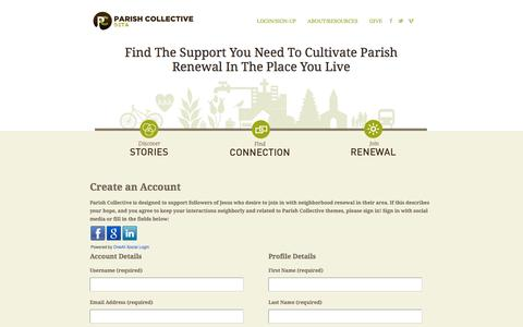 Screenshot of Signup Page parishcollective.org - Create an Account | Parish Collective Beta - captured Sept. 27, 2014