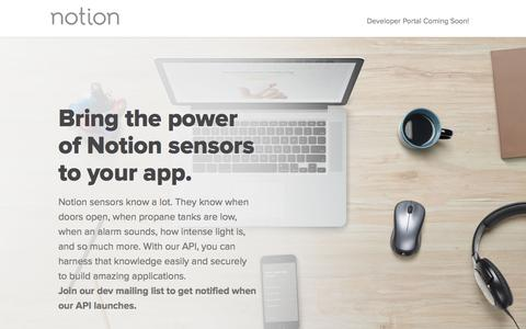 Screenshot of Developers Page getnotion.com - Developers: Home Monitoring Device & Technology API | Notion - captured Nov. 18, 2015