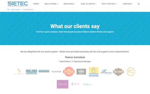 Screenshot of Testimonials Page sietec.co.nz - Testimonials - Sietec - Integrated Business Communications - captured Feb. 27, 2016