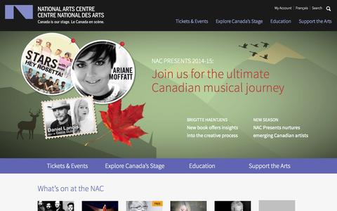Screenshot of Home Page nac-cna.ca - National Arts Centre | Canada is our stage - captured Sept. 19, 2014