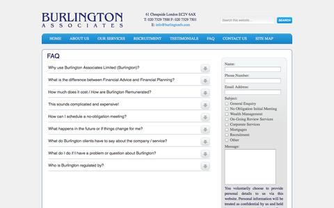Screenshot of FAQ Page burlingtonfs.com - Burlington Associates - FAQ - captured Oct. 5, 2014
