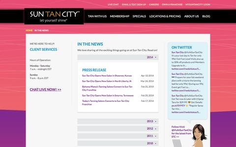 Screenshot of Press Page suntancity.com - Sun Tan City in News Articles and Press Releases - captured June 21, 2018