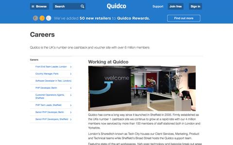 Screenshot of Jobs Page quidco.com - Careers | Quidco - captured July 8, 2016