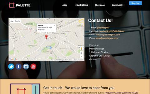 Screenshot of Contact Page palettegear.com - Palette - Contact - captured Nov. 11, 2015