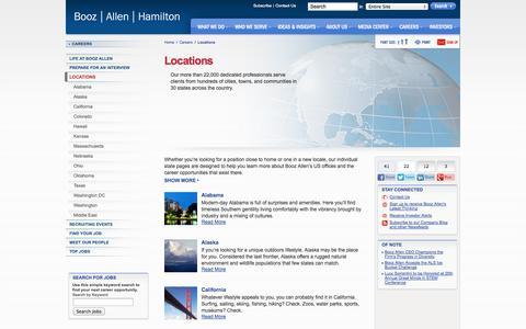 Screenshot of Locations Page boozallen.com - Career Locations | Booz Allen Hamilton - captured Sept. 19, 2014