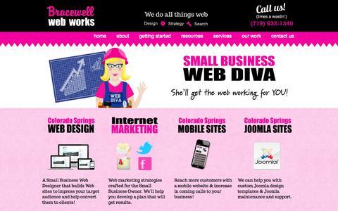Screenshot of Home Page bracewellwebworks.com - Colorado Springs Website Designer,  Joomla Web Design - captured Sept. 30, 2014