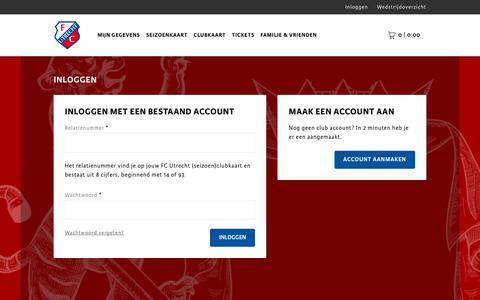 Screenshot of Login Page fcutrecht.nl - Inloggen - captured July 14, 2018