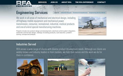 Screenshot of Services Page rfamec.com - Mechanical and Electrical Engineering Services - RFA Engineering (Minnesota) - captured Oct. 7, 2014