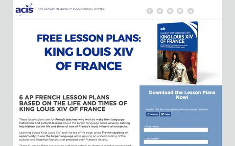 Screenshot of Landing Page acis.com - AP French Lesson Plans - King Louis XIV of France - captured July 3, 2017