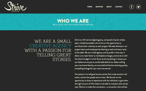 Screenshot of About Page strivecreative.com - About | Strive Creative - captured Oct. 7, 2014