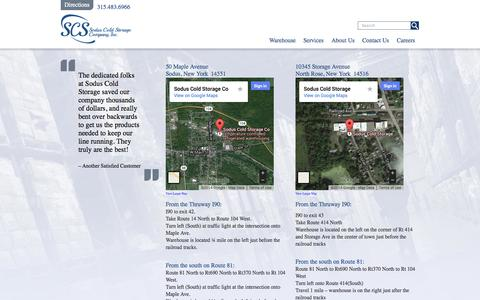 Screenshot of Maps & Directions Page sodus.com - Sodus Cold Storage > Directions - captured Oct. 7, 2014