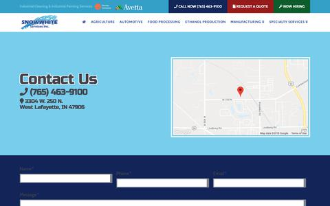 Screenshot of Contact Page snowwhiteservices.com - Contact » Snow White Services, Inc. - captured Oct. 20, 2018